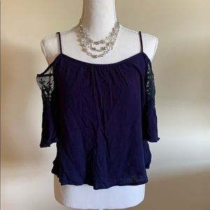 Blue cold shoulder top w/ embroidered sleeves